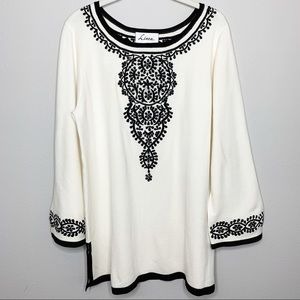LINEA Vintage Embroidered Long Sleeve Sweater